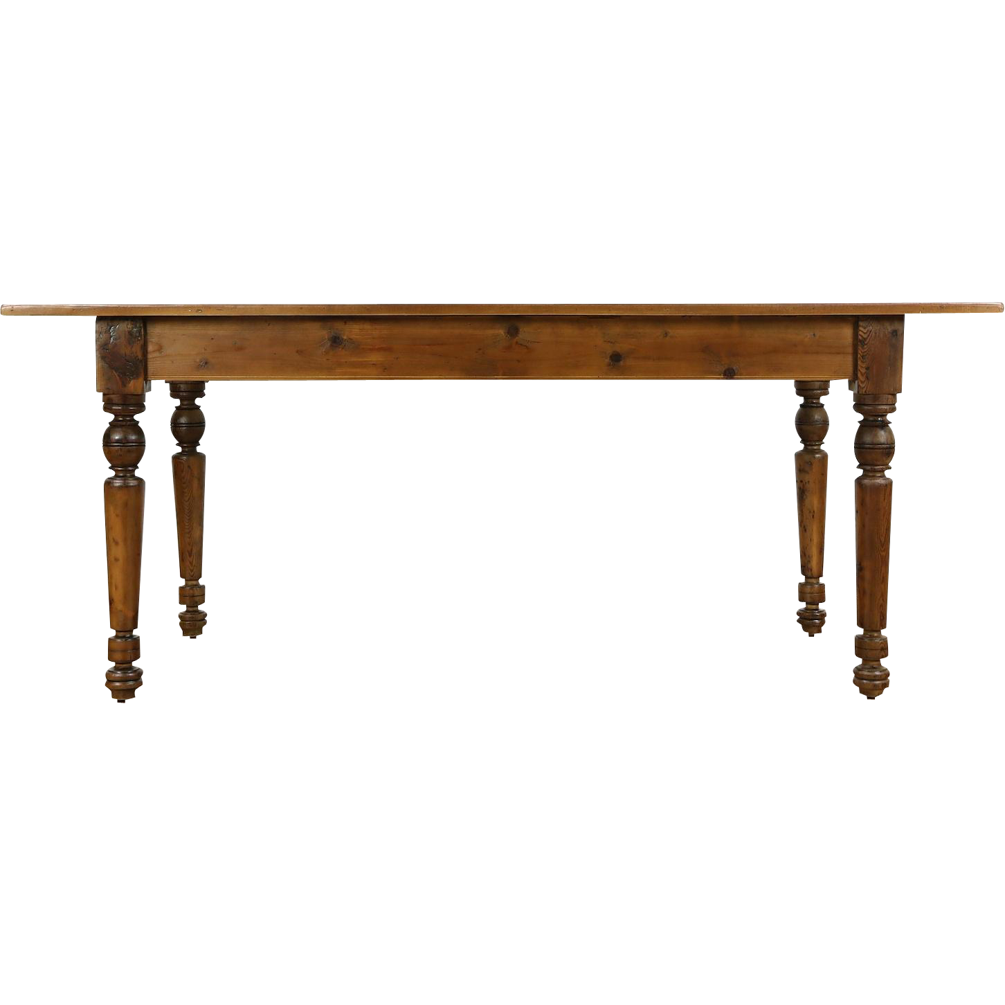 Country Pine & Maple 1890 Antique Farmhouse Harvest Dining Table
