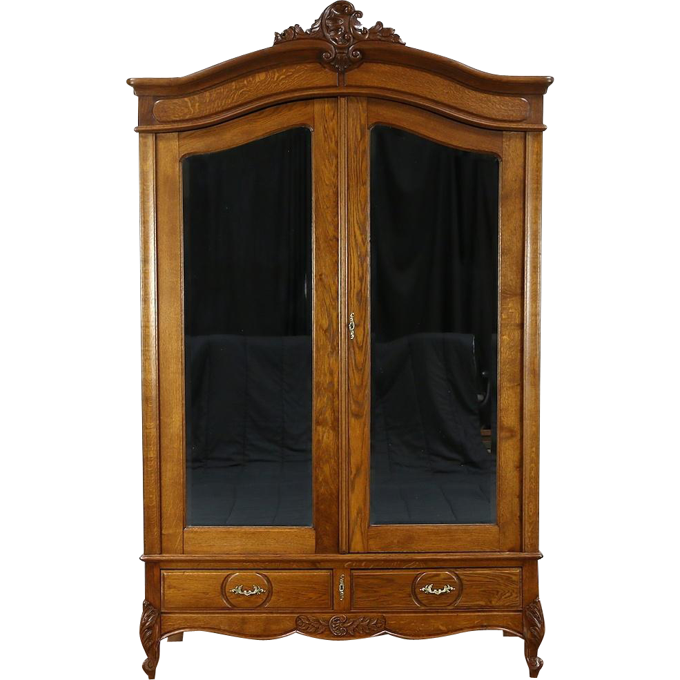 Country French 1920 Antique Oak Armoire, Wardrobe or Closet, Beveled Mirrors