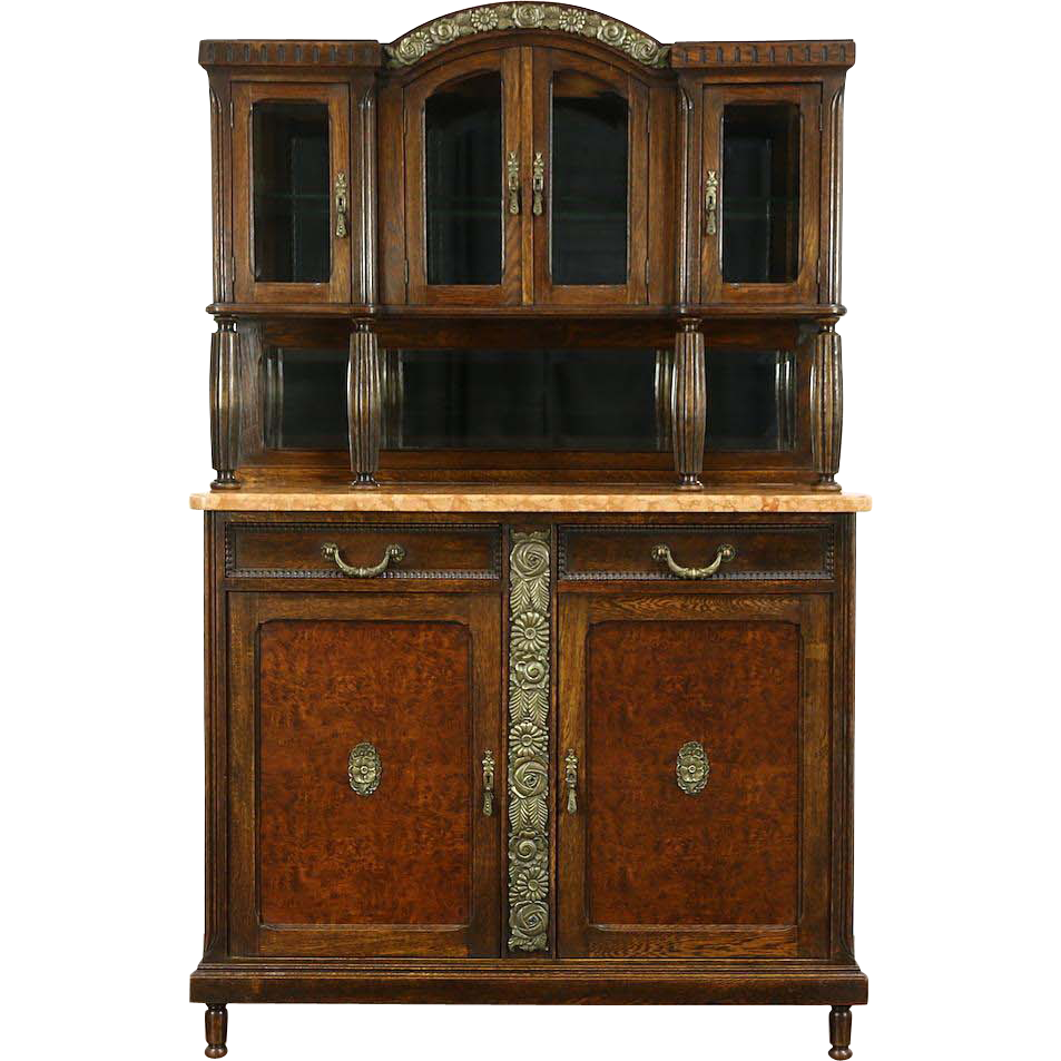 Art Deco 1920 Antique Marble Top Server, Sideboard China Cabinet, Belgium
