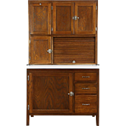 Hoosier Oak 1915 Antique Kitchen Pantry Cupboard, Sifter & Roll Top