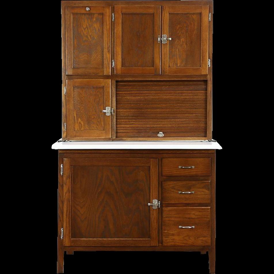 Hoosier Oak 1915 Antique Kitchen Pantry Cupboard, Sifter & Roll Top