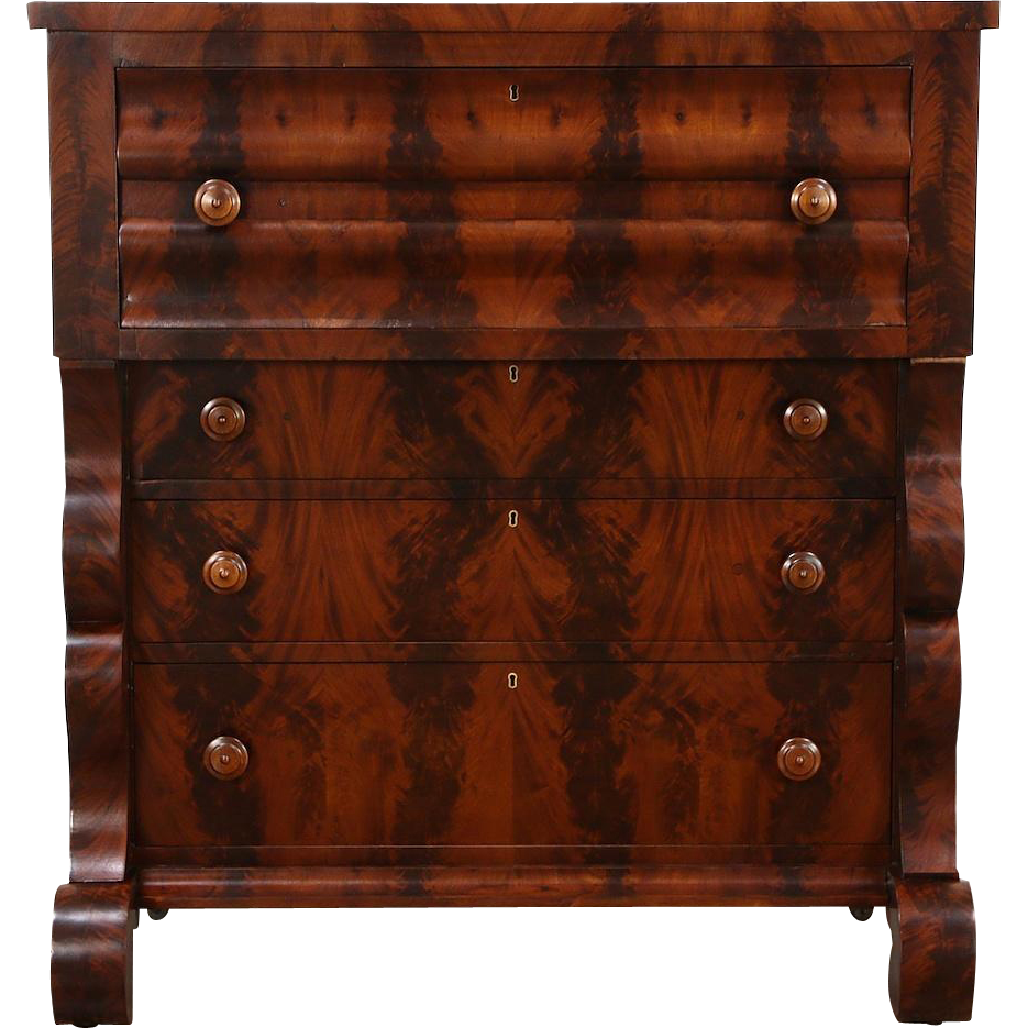 Empire Mahogany 1835 Antique Butler Secretary Desk, Secret Compartments
