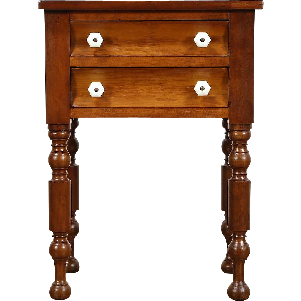 Cherry and Pine Country Sheraton 1835 Nightstand, End or Side Table, Glass Knobs