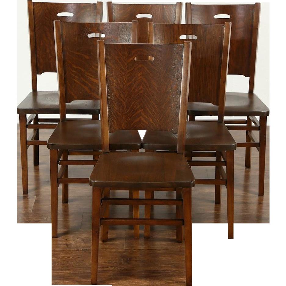 Set of 6 Arts & Crafts Mission Oak 1900 Antique Craftsman Dining Chairs