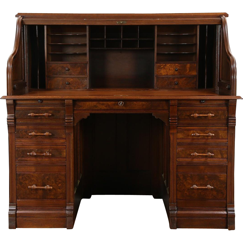 "Victorian 1885 Antique Walnut & Burl Antique S Curve Roll Top Desk, 55"" Wide"