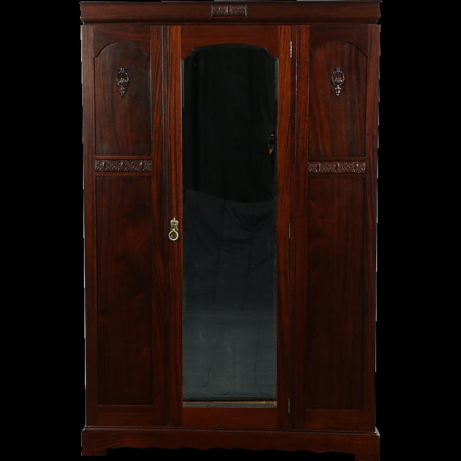 English 1910 Antique Armoire, Wardrobe or Closet, Beveled Mirror