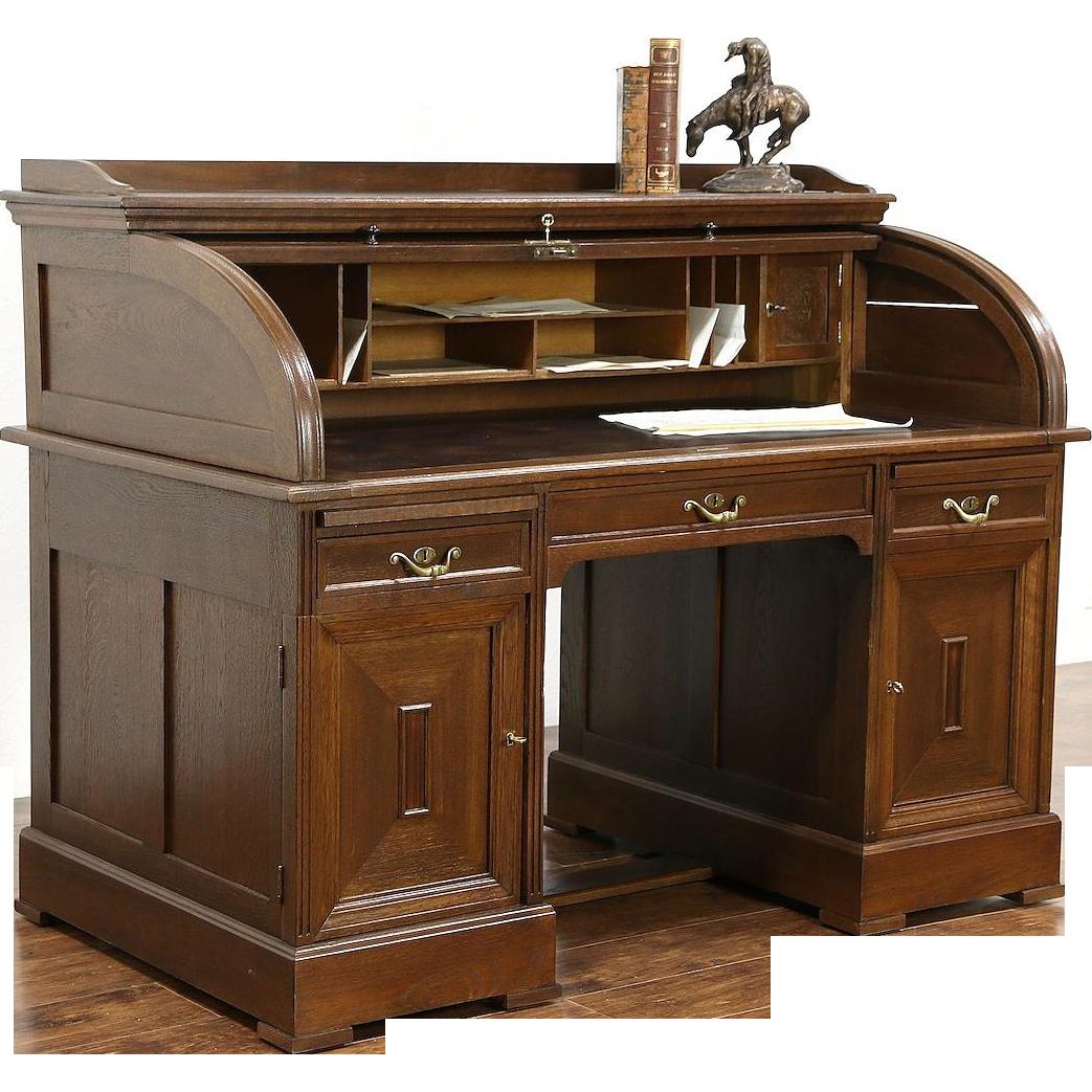German Oak Antique 1910 Rolltop Oak Desk, Leather Top, Original Brass Pulls
