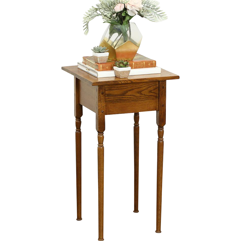 Oak 1920 Antique Nightstand, Pedestal or Plant Stand