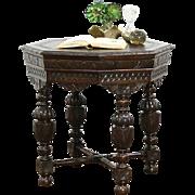 Octagonal English Tudor 1910 Antique Oak Center or Lamp Table