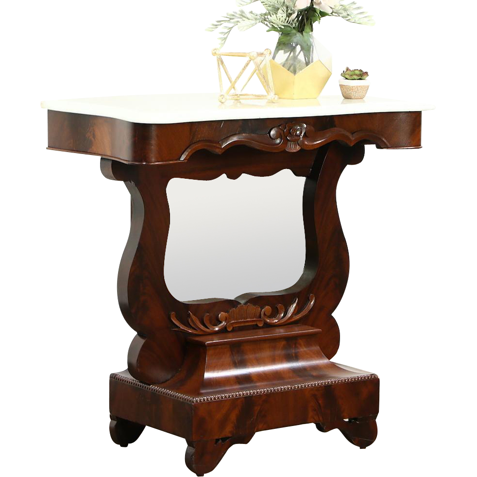 Empire 1840 Antique Hall Console Table or Petticoat Mirror, Mahogany and Marble