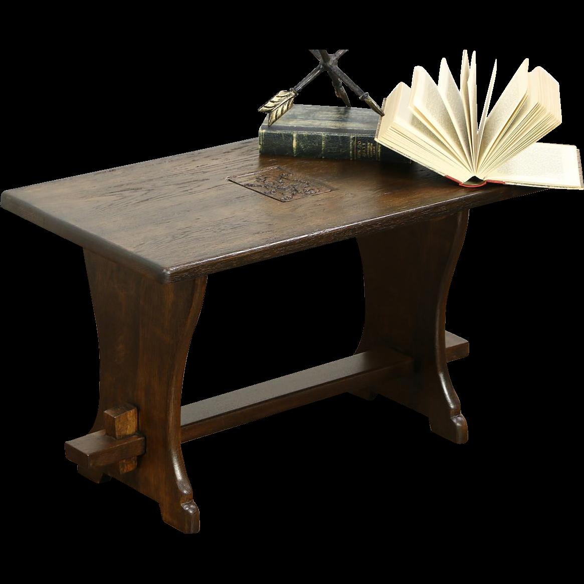 Oak Antique 1920 Scandinavian Oak Coffee or Chairside Table, Carved Lion