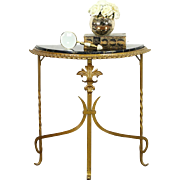 Black Marble and Gilt Wrought Iron 1920 Antique Demilune Console Table