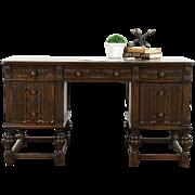 English Tudor 1920's Antique Carved Chestnut Library Desk, Linenfold Panels