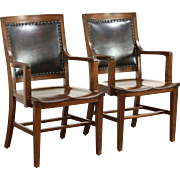 Pair of Walnut & Leather 1910 Antique Library or Office Chairs
