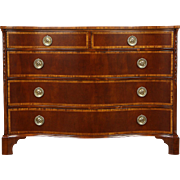 Georgian Style Serpentine Front 1940's Banded Mahogany Linen Chest or Dresser