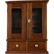 Barbershop Hanging or Countertop 1880's Antique Walnut Cabinet