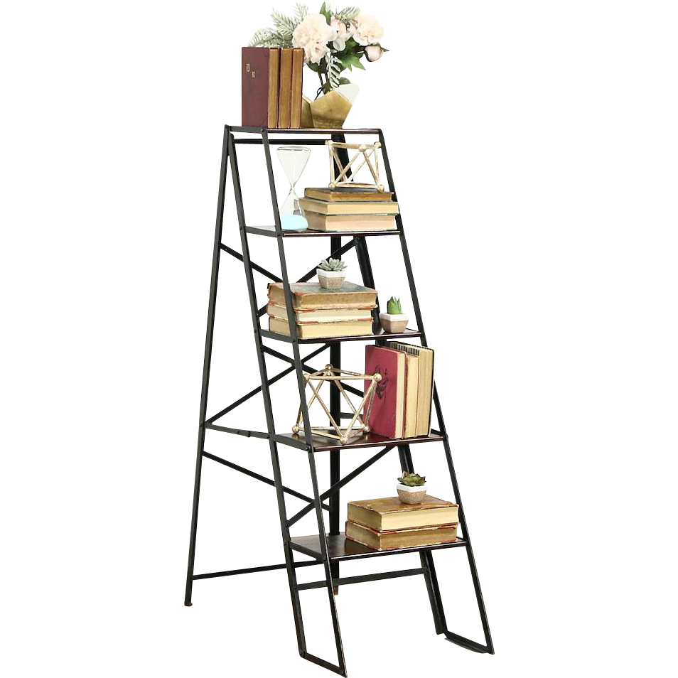 Library Steps or Folding Vintage Ladder, Iron & Mahogany