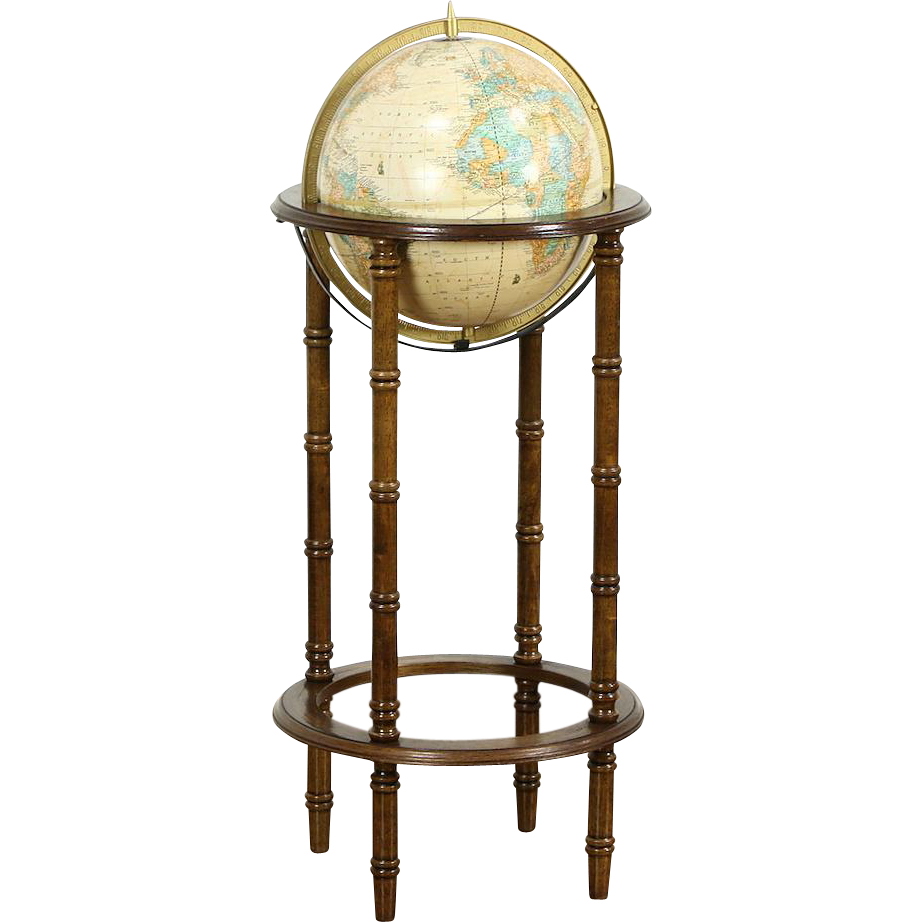 "Globe of the World & Stand, Vintage 11,"" Signed Cram of Indianapolis"