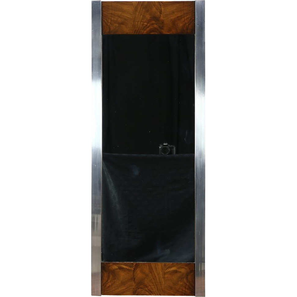 Mid Century Modern Wall Mirror, 1970 Vintage Chrome & Walnut