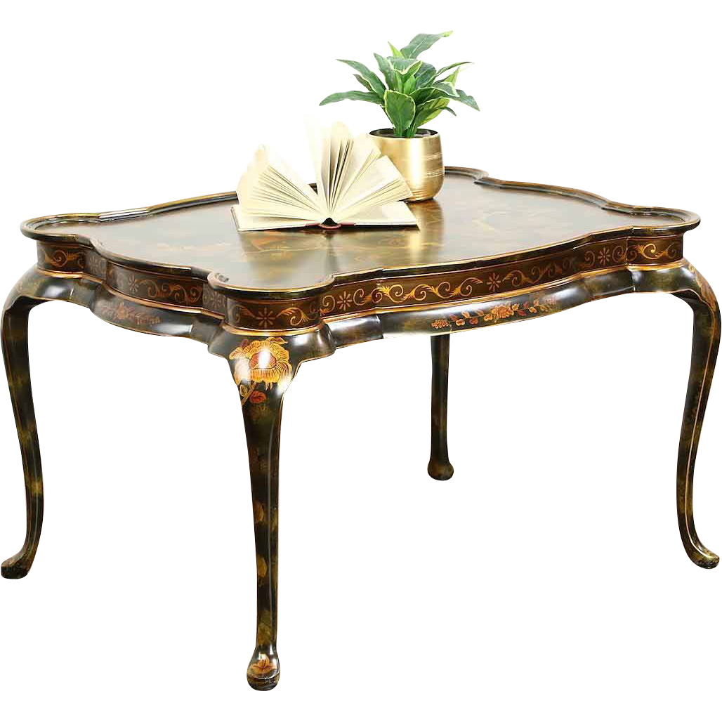 Maitland Smith Signed Coffee or Cocktail Table, Chinoiserie Painting