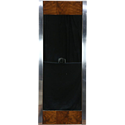 Mid Century Modern Wall Mirror, 1970 Vintage Walnut & Chrome