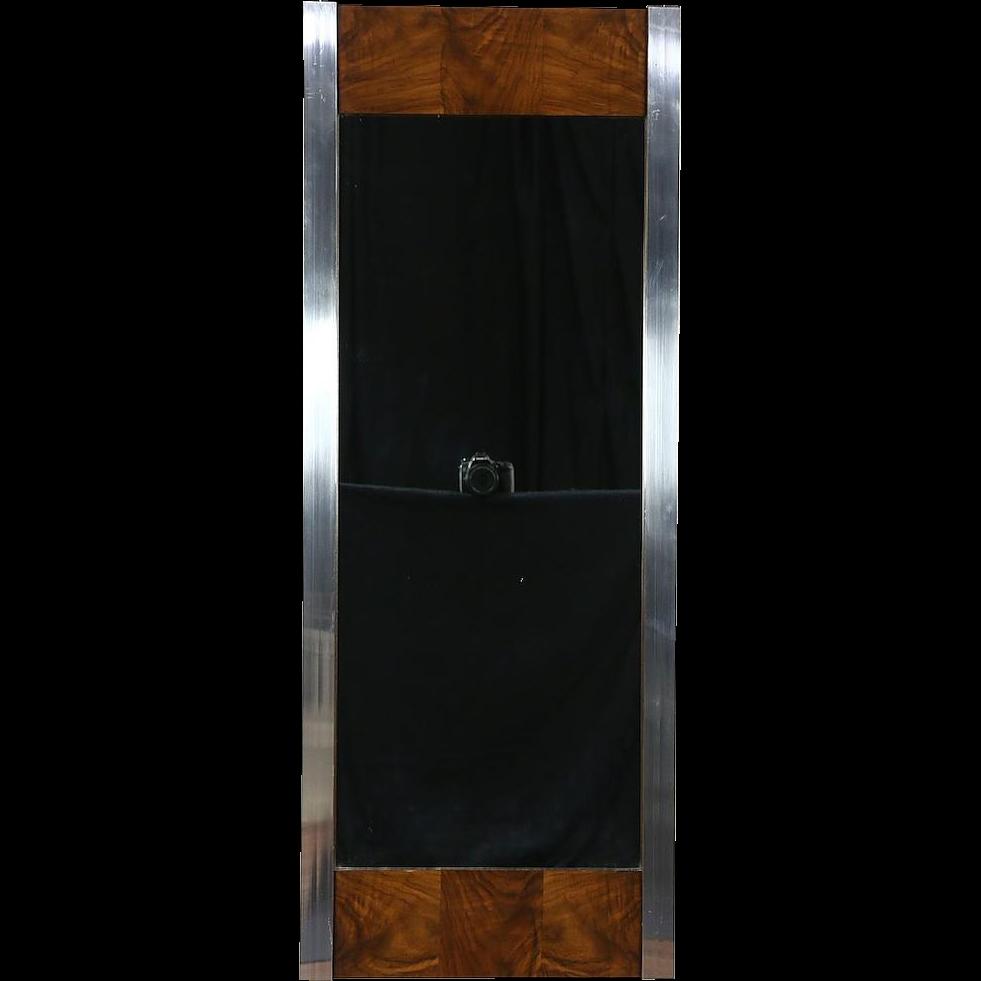 Mid Century Modern Wall Mirror, 1970 Vintage Walnut & Chrome