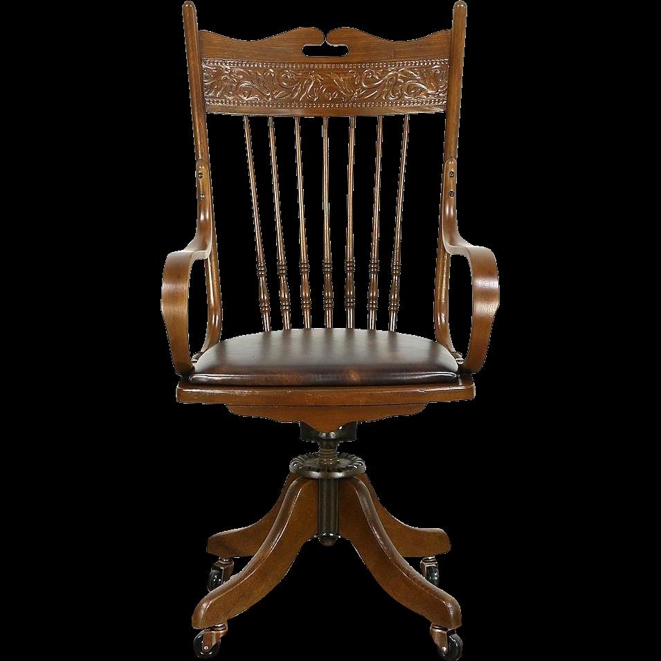 Victorian Swivel Antique Adjustable 1910 Ash & Oak Desk Chair, Leather Seat