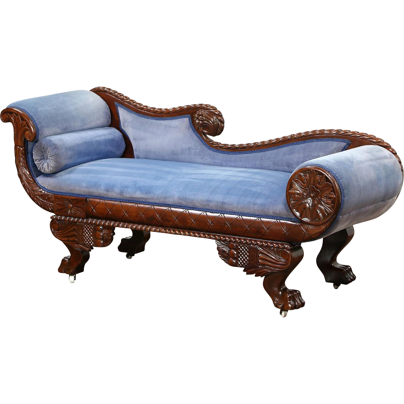 Empire 1895 Antique Chaise, Recamier, Lounge or Sofa, Carved Paw Feet