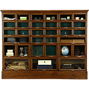 Warren Signed Oak Antique 1900 Store Display Cabinet, 32 Glass Front Drawers