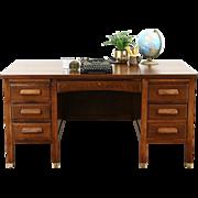 Oak 1915 Antique Desk, File Drawer, Pull Out Shelves, Brass Feet