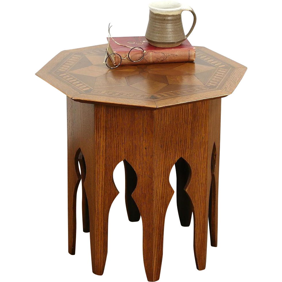 Oak & Marquetry Octagonal 1910 Era Stand or Chairside Table, Secret Compartment