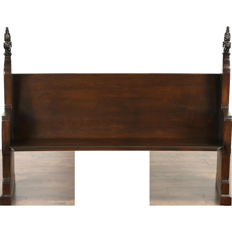 "Victorian Carved Oak 1870 Antique 66"" Pew or Hall Bench"
