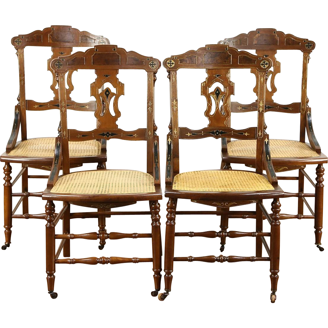 Set of 4 Victorian Eastlake 1880 Antique Carved Walnut Dining or Game Chairs