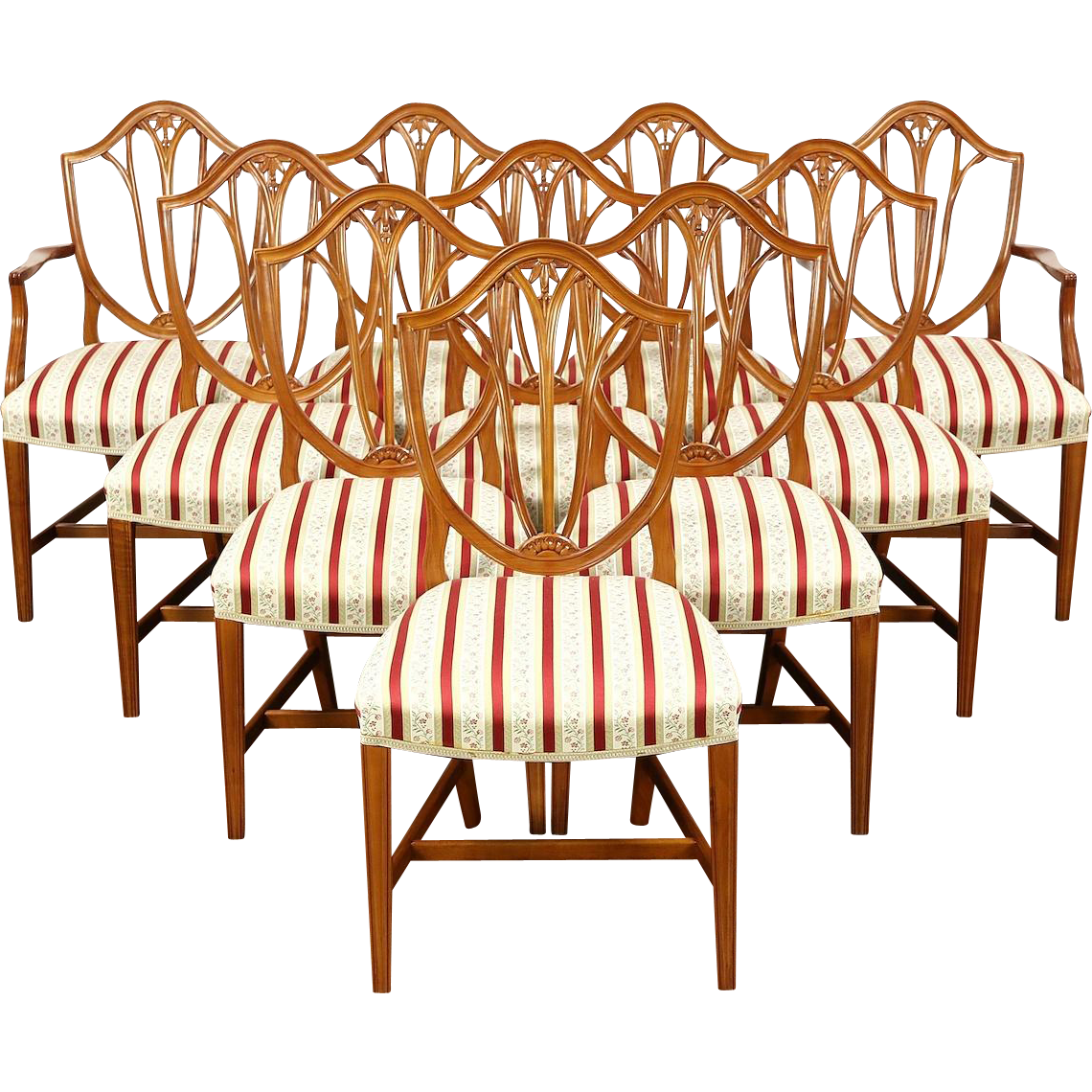 Set of 10 Georgian Style Vintage Cherry English Dining Chairs