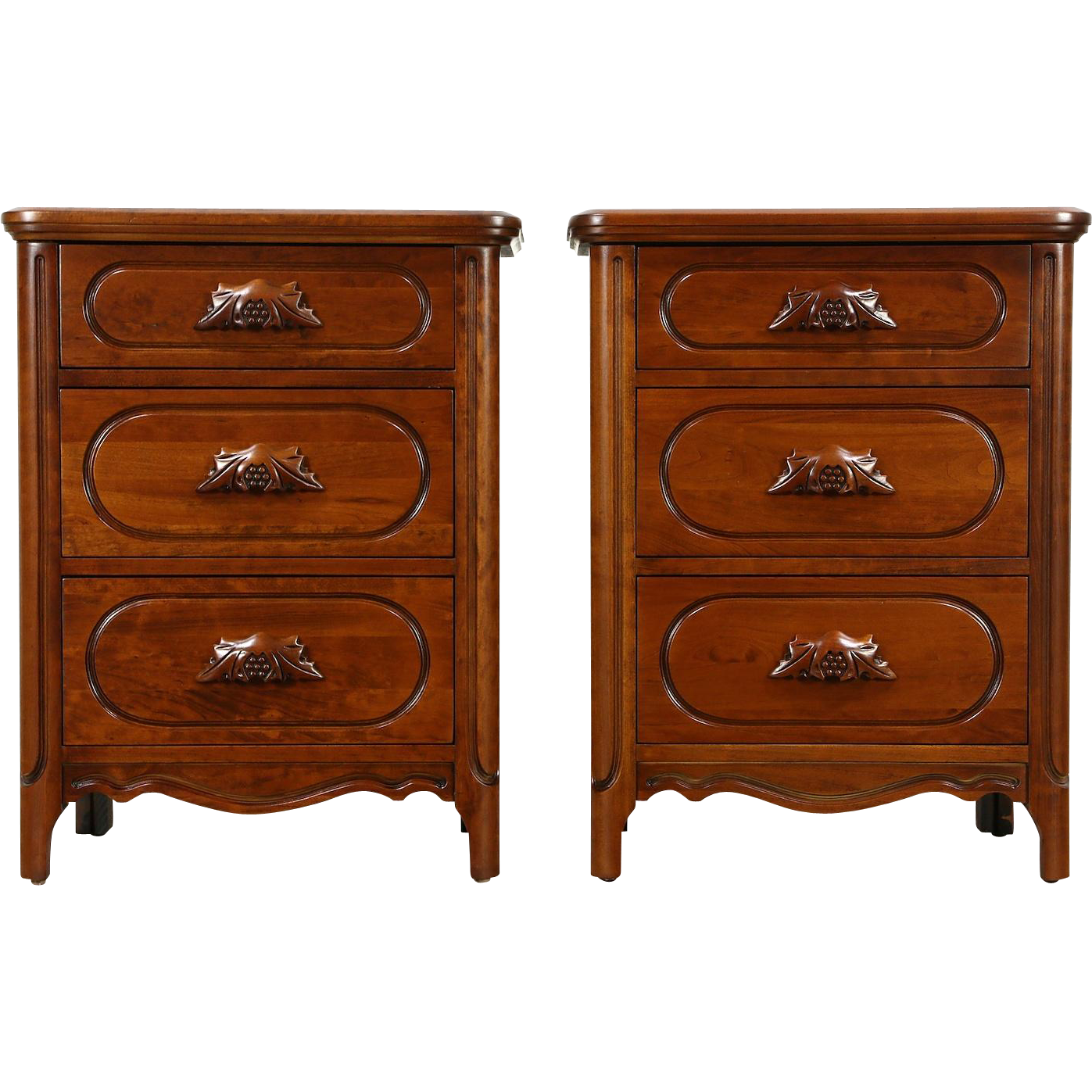 Pair of Lillian Russell by Davis Signed Cherry 1950's Nightstands, End Tables