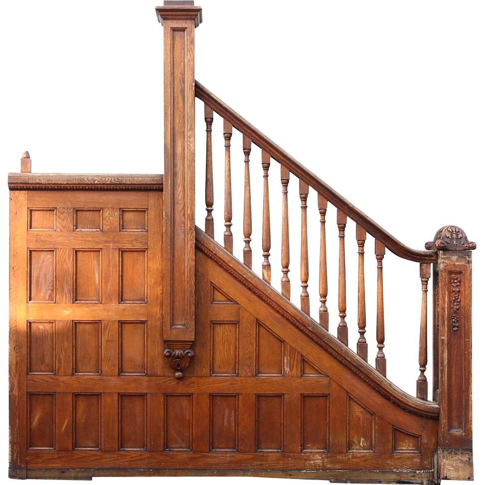 Victorian 1895 Oak Archictectural Salvage Staircase Railings & Newel Posts