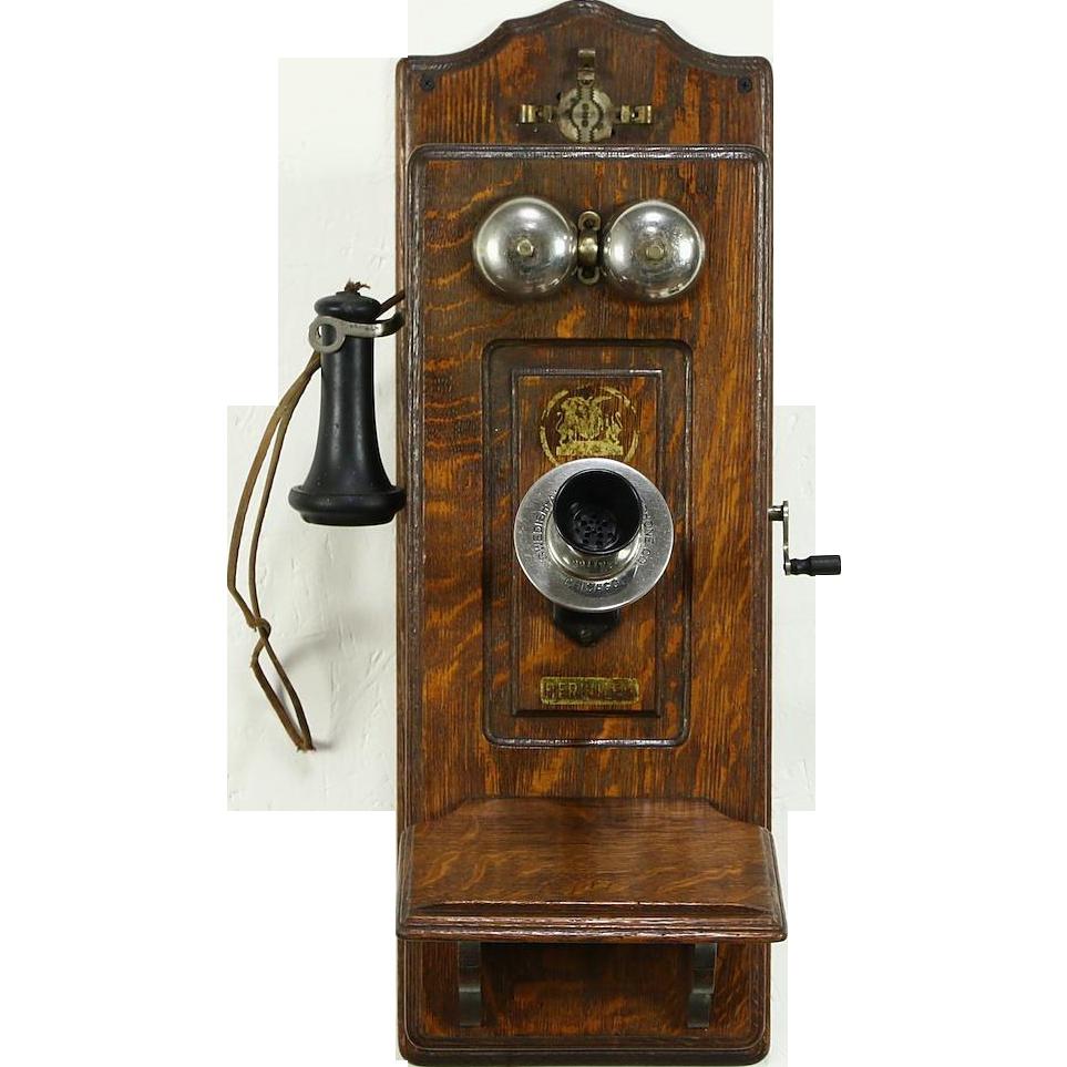 Swedish American Hercules Signed Telephone, Oak 1900's Antique Wall Phone