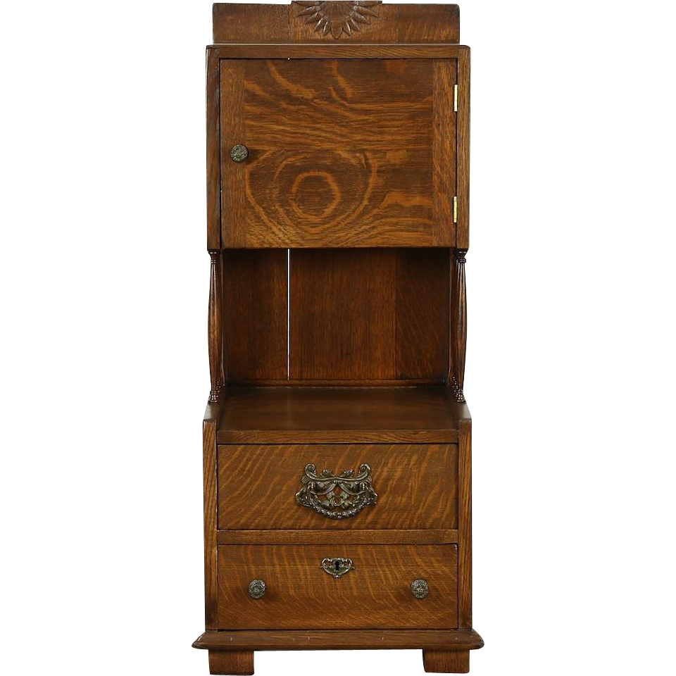 Oak 1900 Antique Barber Shop Cabinet, Nightstand or Bath Cabinet