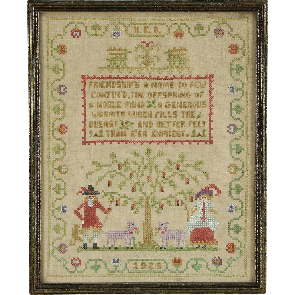 Sampler, Hand Stitched & Signed Needlework on Linen, Dated 1929