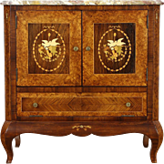 Italian Rosewood & Marquetry 1940's Bar Cabinet, Marble Top