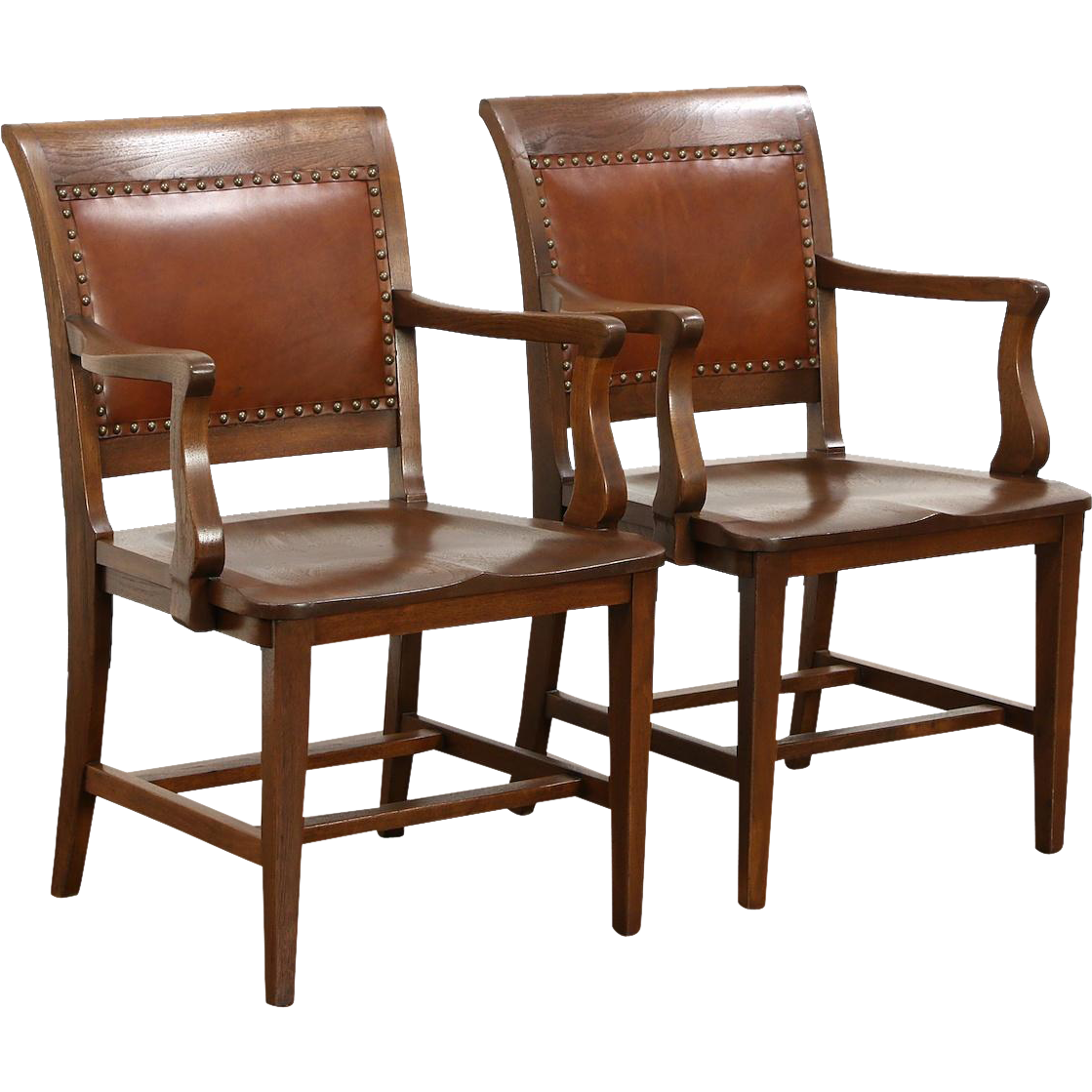 Pair Walnut & Leather Antique Library or Office Chairs, Signed Marble of Ohio