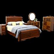 Art Deco Waterfall Vintage 5 Pc. Bedroom Set, Queen Bed - Measured