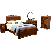 Art Deco Waterfall Vintage 5 Pc. Bedroom Set, Queen Bed - Measured