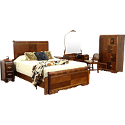 Art Deco Waterfall Vintage 6 Pc. Bedroom Set, Queen Size Bed