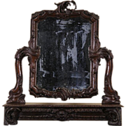 French Rococo Carved Oak 1880 Antique Dresser Mirror