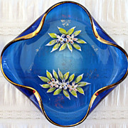 Cobalt And Enamel Glass Dish