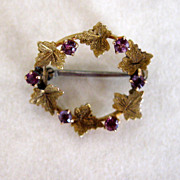 Old Petite Pin Amethyst And Leaves