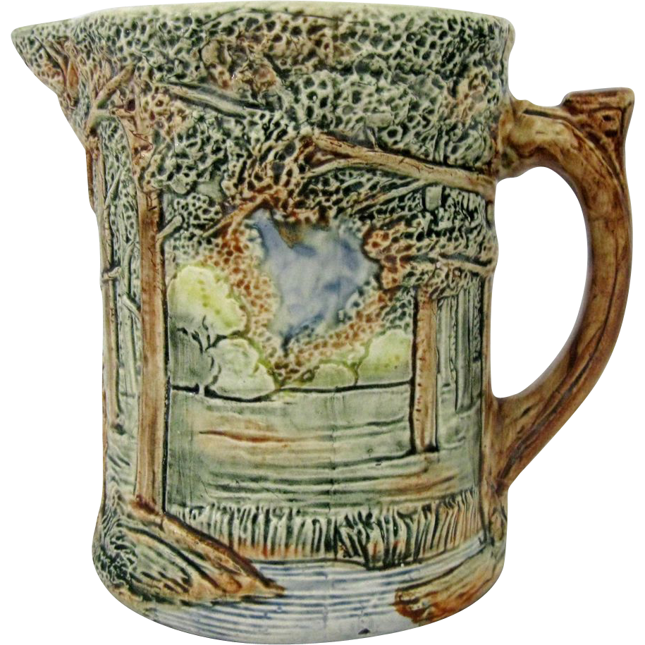 Weller pottery pitcher forest pattern from hartsong on for Pottery patterns
