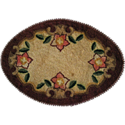 Hand Hooked Oval Mat Or Rug For Doll House