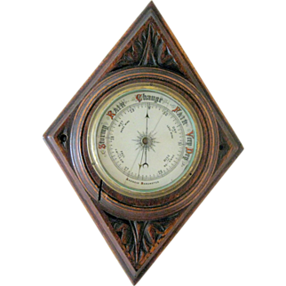 Aneroid Barometer Carved Oak Case